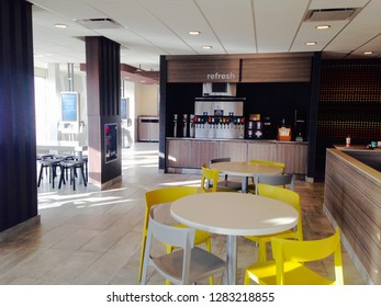 Nelsonville, Ohio, USA, Dec. 24, 2018: The interior of a newly styled McDonald's restaurant in Nelsonville, Ohio features funky decor and murals.