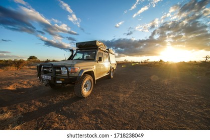 Nelspruit, South Africa -10 may 2018: Toyota LandCruiser 4X4 in South Africa's bush during a safari adventure.