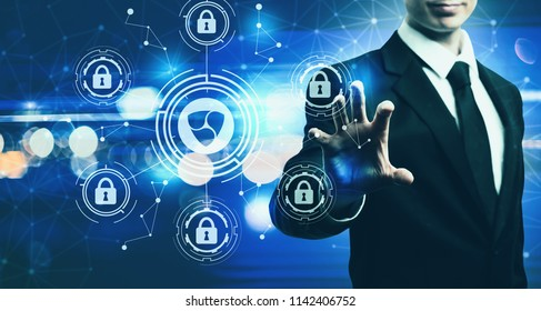 NEM cryptocurrency security theme with businessman on blurred blue light background