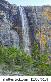 Nemesis Waterfall, hardest winter ice climb in the world, on Stanley Glacier hiking trail in Kootenay National Park, Canadian Rocky Mountains