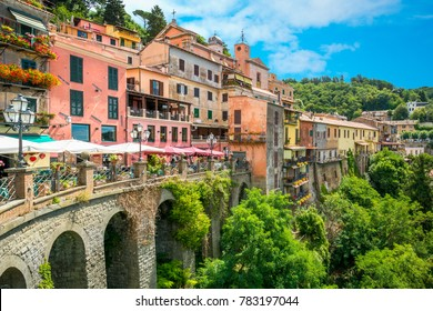 Nemi, beautiful village on the lake in the province of Rome, Lazio, Italy.