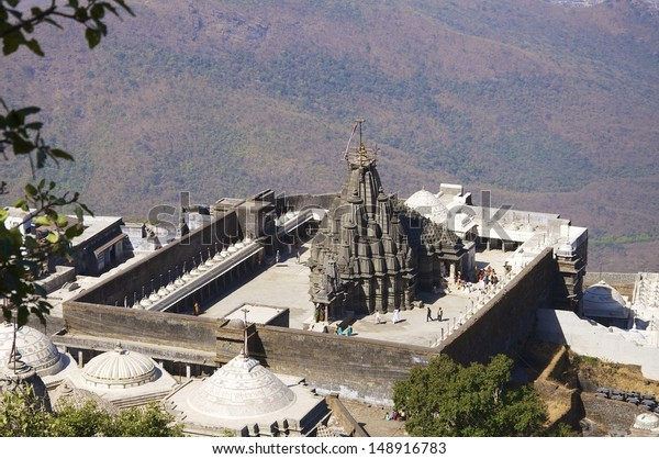 Neminath Jain Mandir, Jain Temple, Girnar Hill, Junagadh.  These temples are of great importance and a place of pilgrimage for Jains near Junagadh, Gujarat, India. 10,000 steps lead up the hill