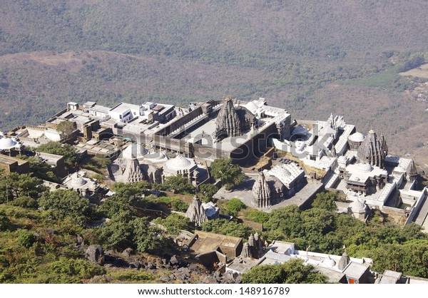 Neminath Jain Mandir, Jain Temple, Girnar Hill, Junagadh.  These temples are of great importance and a place of pilgrimage for Jains near Junagadh, Gujarat, India. 10,000 steps lead up the hill