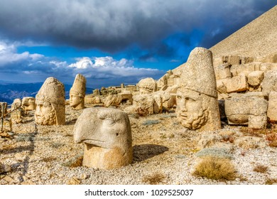 Nemrut has giant sculptures and reliefs were built on the monumental tomb made for Antiochus I the King in Turkey,