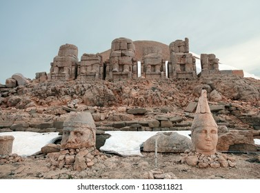 Nemrut Mountain, Adiyaman, Turkey. Toppled heads of the gods on East terrace at the top of Nemrut Dagi. The UNESCO World Heritage Site at Mount Nemrut where King Antiochus is reputedly entombed.
