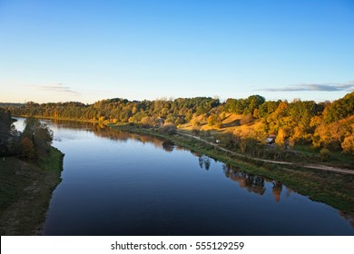 Nemunas, the largest river in Lithuania, view from the White Rose Bridge in Alytus