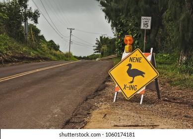 Nene crossing road sign near a road in Kauai, Hawaii. The nene is also known as the Hawaiian goose and is the official bird of Hawaii.