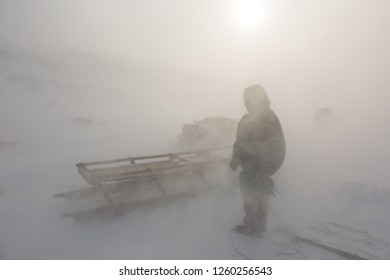 Nenets reindeer herder on a winter day
