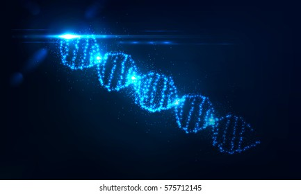 Nenon dna helix consist of glowing particles . Randomly located flashes of light . Abstract object with lens flare effect and bokeh . Science and technology concept , Futuristic illustration