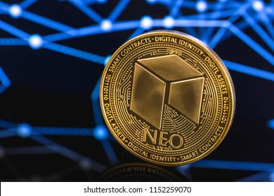 neo coin cryptocurrency on the digital background