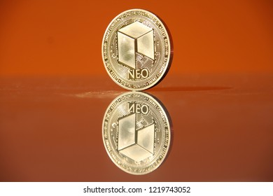 NEO crypto currency coin with mirror image