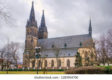 Neo Gothic Basilica of Saint Peter and St Paul in Vysehrad fortress, Prague (Praha), Czech Republic