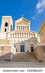 Neo Gothic facade of Cagliari Cathedral of Saint Mary in Sardinia Iisland, Italy