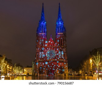 The Neo Gothic Saint Peter and Paul church (Petrus en Pauluskerk) in the city center of Ostend with Christmas lighting, West Flanders, Belgium.