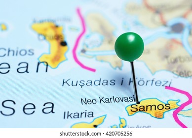 Neo Karlovasi pinned on a map of Greece