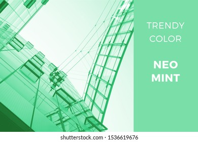 Neo mint - trendy color for 2020, toned image of modern architecture. Office buildings on Potsdammer Platz in Berlin, Germany.  - Shutterstock ID 1536619676