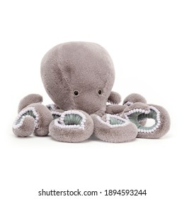 Neo Octopus Teddy Plush Toy Isolated on White. Front View of Toddler Soft Plushies Baby Toy. Kids Colorful Stuffed Animals Teddy Penguin. Fabric Stuffed Toys or Stuffies. Cute Cuddle Buddy