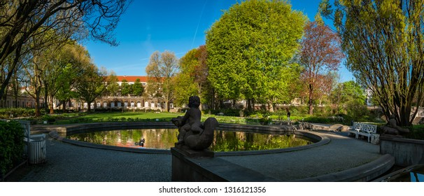 "Neo-baroque garden jewel: listed ""Körnerpark"" in Berlin-Neukölln, view from the east - Panorama from 3 pictures (public park from the 1910s, no property release required)"