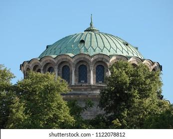 neo-byzantine cupola of Alexander Nevsky Cathedral in Sofia, Bulgaria