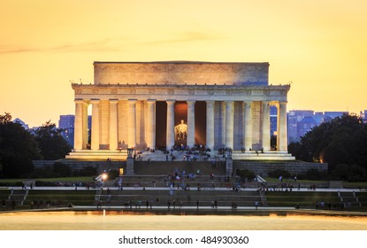 The neoclassic architecture of Washington DC in the USA showcasing the Lincoln Memorial at sunset.