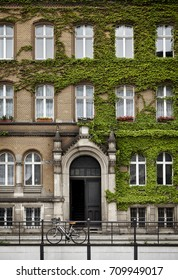 Neoclassical architecture building from north of Europe. Ivy on the facade and bicycle in front of the door.