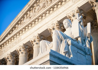Neoclassical columned entrance portico to the US Supreme Court building in Washington DC