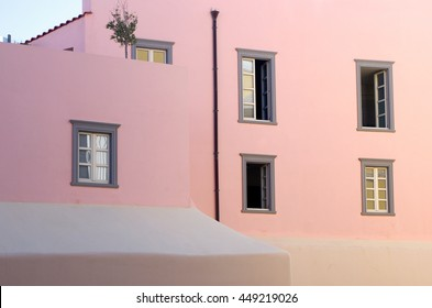 Neoclassical pink house in Ermoupolis, Syros island Greece.