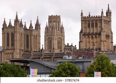 The neo-classical towers of the Cathedral and University dominate the skyline in the city of Bristol, UK