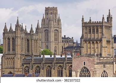 The neo-classical towers of the cathedral and university dominating the skyline in Bristol UK