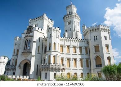 Neo-gothic castle  Hluboka near Ceske Budejovice, South Bohemia, Czech republic