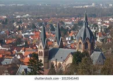 Neo-Gothic church in the centre of Heppenheim, Germany
