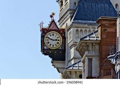 neo-gothic  clock on the Royal Courts of Justice, England
