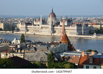 Neogothic parliament building on the Danube in Budapest