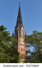 Neogothic red brick church tower in Pori. Finland. Suomi. Europe