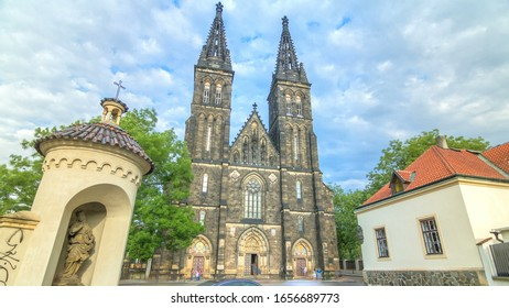 Neo-Gothic Saint Peter and Paul Cathedral timelapse  in Vysehrad fortress, Prague. In 2003 the church was elevated to basilica by Pope John Paul II.