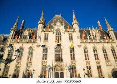 Neogothical building of Province Court - Provinciaal Hof, on the market place in Bruges, Belgium