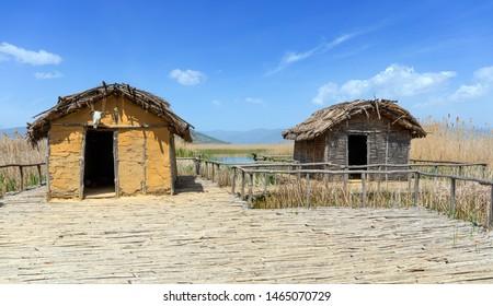 The Neolithic lakeshore settlement of Dispilio on lake Orestiada, Kastoria, Greece.