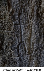 Neolithic rock paintings of Gobustan National Park, depicting dancing shaman holding spear in his hand, Azerbaijan,Caucasus,unesco heritage site