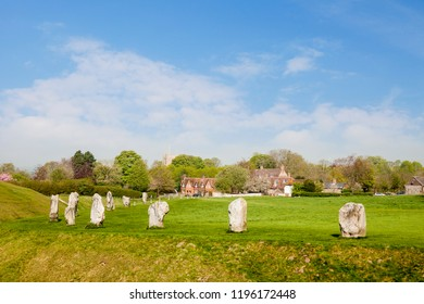 The Neolithic stone circle and henge at Avebury in Wiltshire, England, with the village which lies mainly within the monument. The area is part of a UNESCO World Heritage Site.