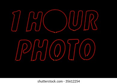 neon 1 hour photo sign
