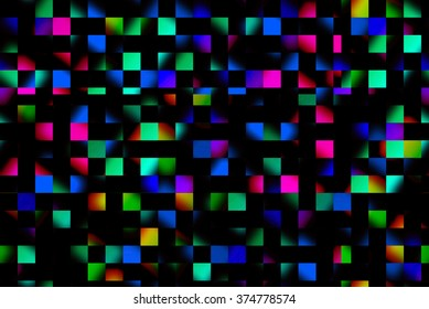 Neon abstract squares design on dark background