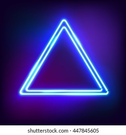 Neon abstract triangle. Glowing frame. Vintage electric symbol. Burning a pointer to a black wall in a club, bar or cafe. Design element for your ad, sign, poster, banner. illustration