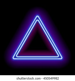Neon abstract triangle. Glowing frame. Vintage electric symbol. Burning a pointer to a black wall in a club, bar or cafe. Design element for your ad, sign, poster, banner. illustration Raster version.