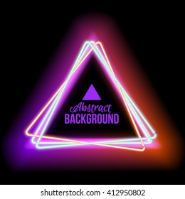 Neon abstract triangle for your design. Glowing electric frame triangle on black background with space for your text.