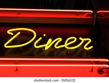 neon American diner sign