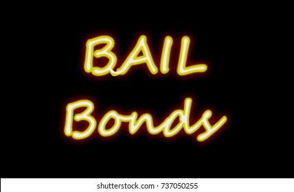 Neon Bail Bond sign on black