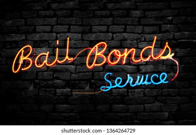 Neon Bail Bonds Service sign on a brick wall