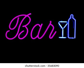 Neon BAR sign commonly found in retail windows