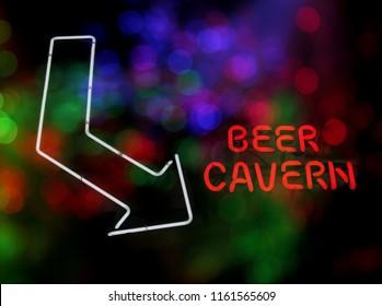 Neon Beer Cavern Sign With Arrow