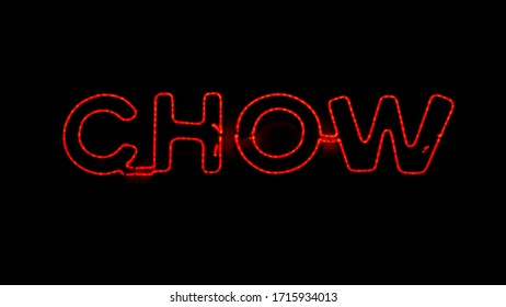 Neon black and red chow sign